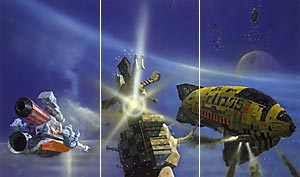 Foundation triptych by Chris Foss