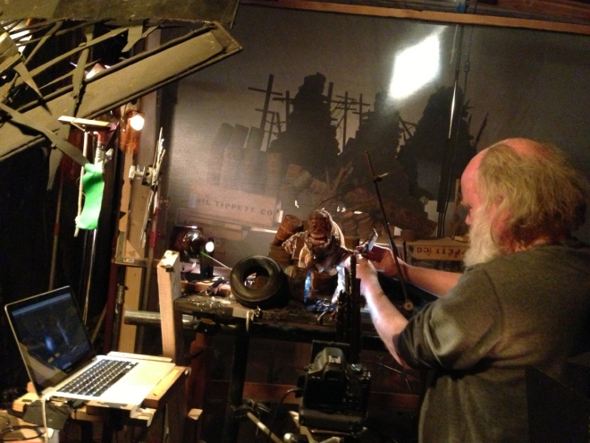 "Phil Tippett sets up a shot for his stop-motion animated film ""Mad God""."