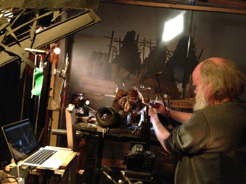 """Phil Tippett sets up a shot for his stop-motion animated film """"Mad God""""."""