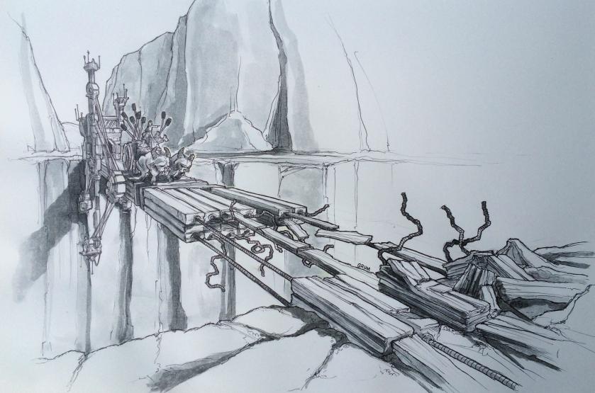 Perilous Crossing - artwork by Graham Edwards