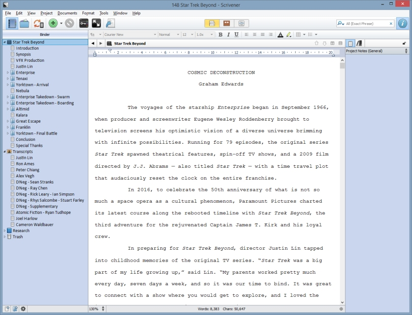 """Star Trek Beyond"" Cinefex article - final Scrivener document"