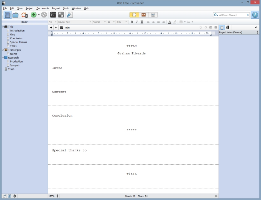 Blank Cinefex template in Scrivener