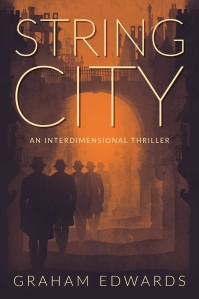 """String City"" by Graham Edwards - draft cover. Illustration by Vince Haig."