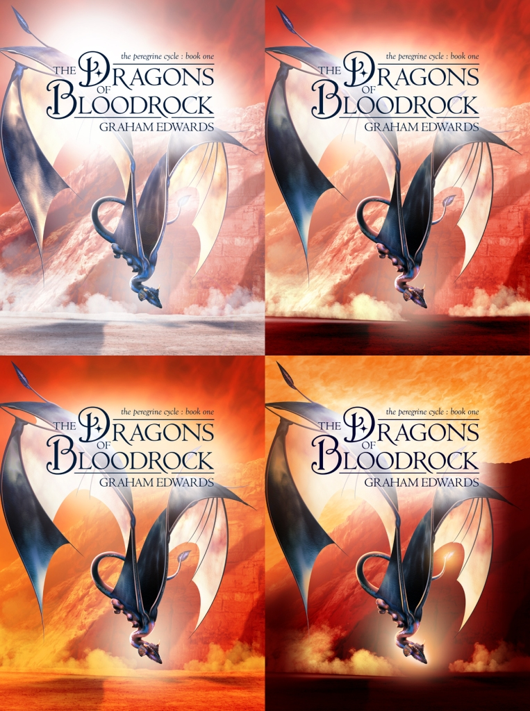 """The Dragons of Bloodrock"" - front cover colour palette experiments."