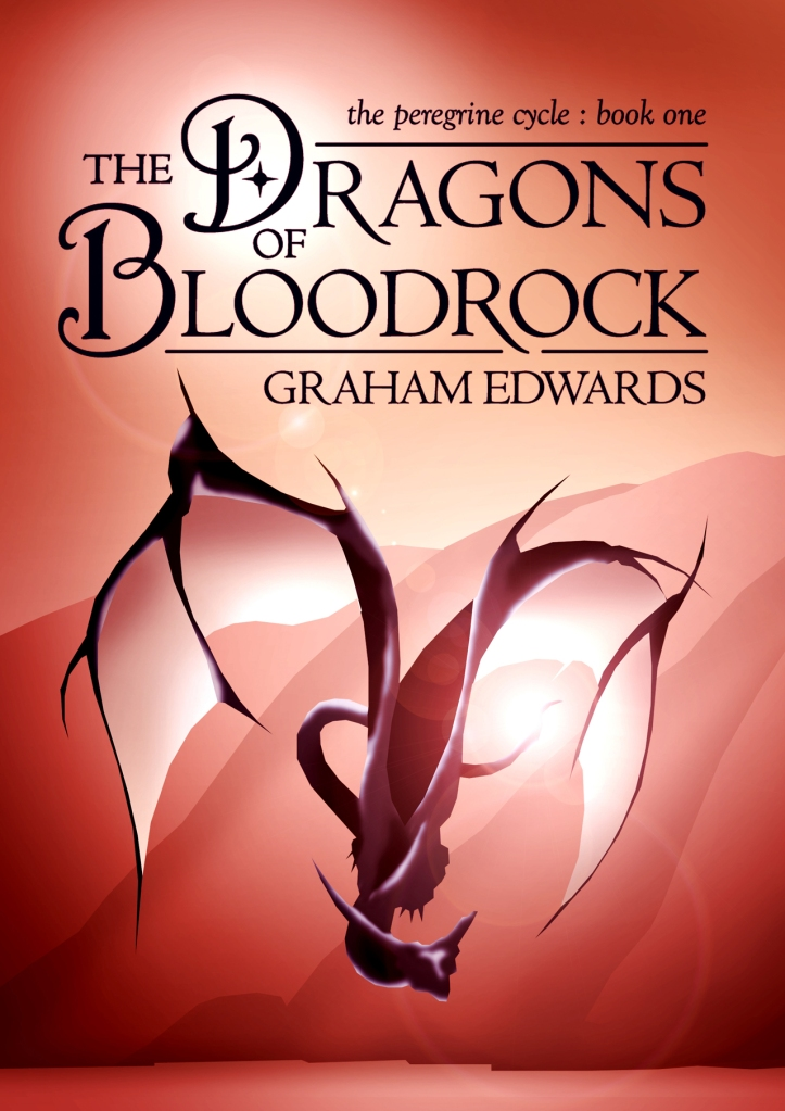 "First rough layout for the cover of ""The Dragons of Bloodrock."""