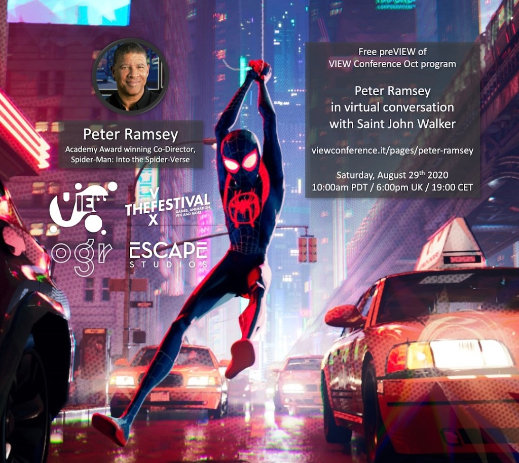 "VIEW 2020 stages free online event with ""Spider-Man: Into the Spider-Verse"" co-director Peter Ramsey"