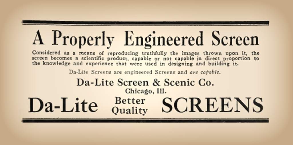 Da-Lite Screen & Scenic Co. advertisement, 1926.