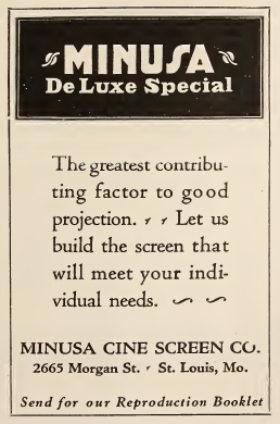 Minusa Cine Screen advertisement, 1926.