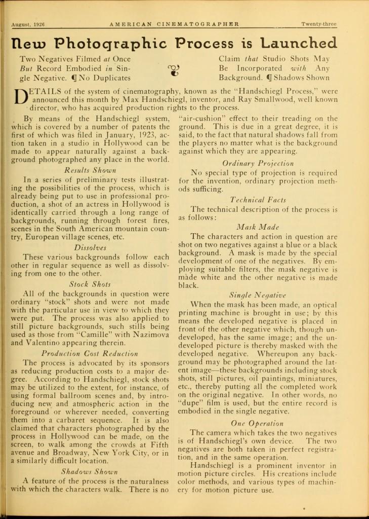 Handschiegl process, American Cinematographer, August 1926.